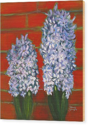 Wood Print featuring the painting Hyacinths by Patricia Januszkiewicz