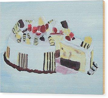 Ice Cream Cake Oil On Canvas Wood Print