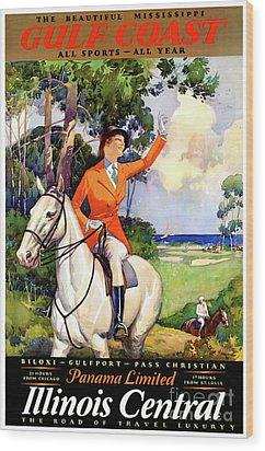 Illinois Mississippi Restored Vintage Poster Wood Print by Carsten Reisinger