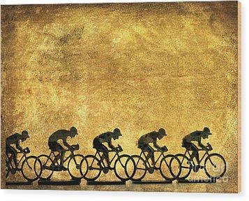 Illustration Of Cyclists Wood Print by Bernard Jaubert