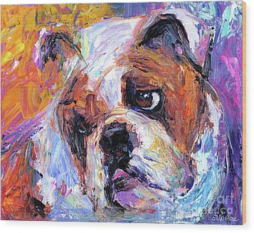 Impressionistic Bulldog Painting  Wood Print