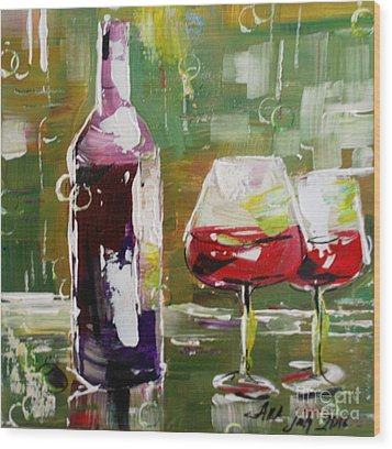 In Vino Veritas. Wine Collection Wood Print