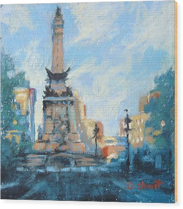Indy Circle Day Wood Print by Donna Shortt