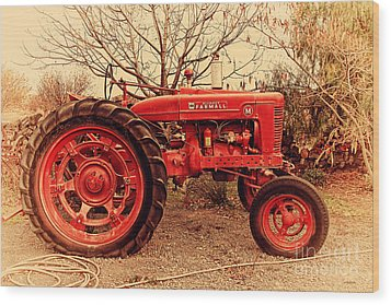 International Harvester Mccormick Farmall Farm Tractor . 7d10320 Wood Print by Wingsdomain Art and Photography