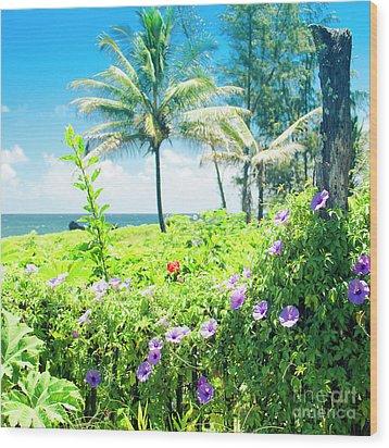 Wood Print featuring the photograph Ipomoea Keanae Morning Glory Maui Hawaii by Sharon Mau