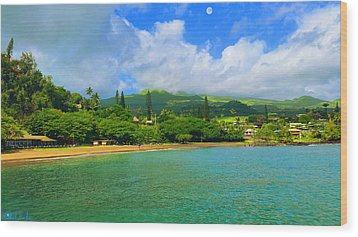 Island Of Maui Wood Print by Michael Rucker