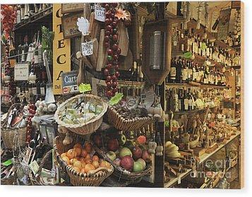 Italian Delicatessen Or Macelleria Wood Print by Jeremy Woodhouse