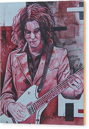 Wood Print featuring the drawing Jack White by Joshua Morton
