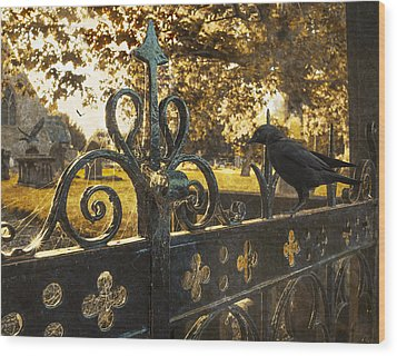 Jackdaw On Church Gates Wood Print by Amanda Elwell