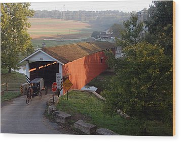 Jacksons Sawmill Covered Bridge Wood Print by Dan Myers