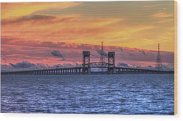 James River Bridge Wood Print by Jerry Gammon