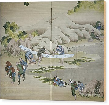 Japan: Cotton Processing Wood Print by Granger