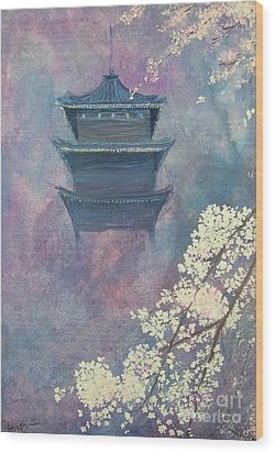 Japanese Spring Scene Wood Print by Lizzy Forrester