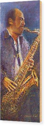 Jazz Saxophonist Wood Print by Yuriy  Shevchuk