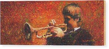 Jazz Trumpeter Wood Print by Yuriy  Shevchuk