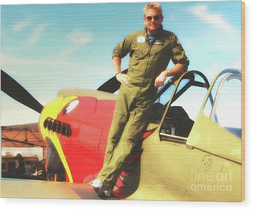 Jc Paul And P-40 Parrothead Reno Air Races 2010 Wood Print by Gus McCrea