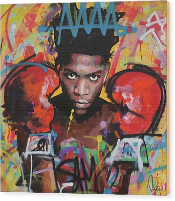 Wood Print featuring the painting Jean Michel Basquiat by Richard Day