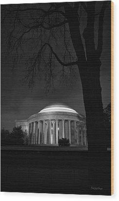 Jefferson Memorial At Night Wood Print by Sanjay Nayar