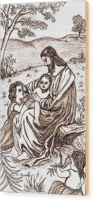 Jesus And The Children Wood Print by Norma Boeckler