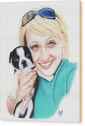 Wood Print featuring the drawing Joanna  by Mike Ivey