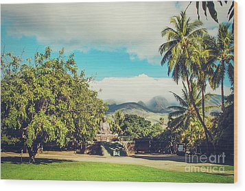 Wood Print featuring the photograph Jodo Shu Mission Lahaina Maui Hawaii by Sharon Mau