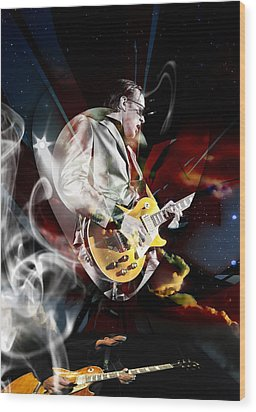 Joe Bonamassa Blue Guitarist Art Wood Print by Marvin Blaine