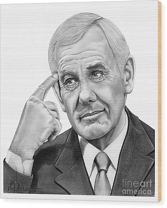 Johnny Carson Wood Print