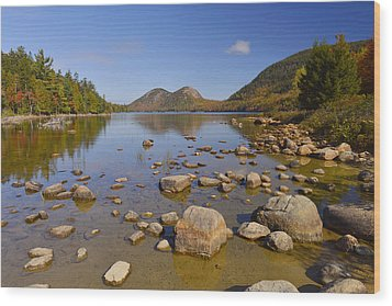 Wood Print featuring the photograph Jordan Pond In Autumn by Stephen  Vecchiotti