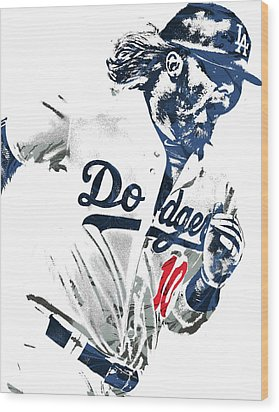 Justin Turner Los Angeles Dodgers Pixel Art Wood Print by Joe Hamilton