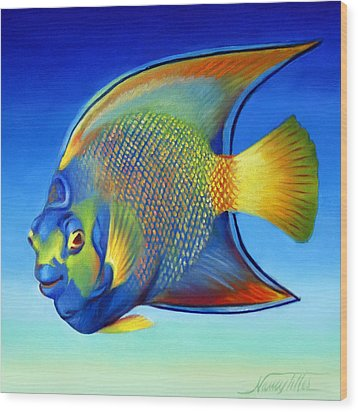 Juvenile Queen Angelfish Wood Print by Nancy Tilles