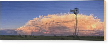 Kansas Storm And Windmill Wood Print