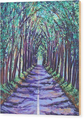 Wood Print featuring the painting Kauai Tree Tunnel by Marionette Taboniar