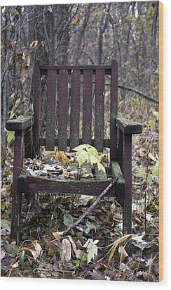 Keven's Chair Wood Print by Pat Purdy