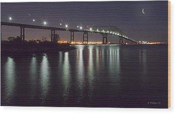 Key Bridge At Night Wood Print by Brian Wallace