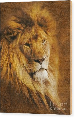 Wood Print featuring the digital art King Of The Beasts by Ian Mitchell