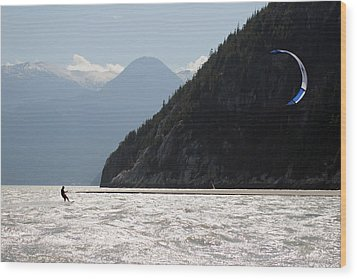 Kite Surfing The Spit In Squamish B.c Canada Wood Print by Pierre Leclerc Photography