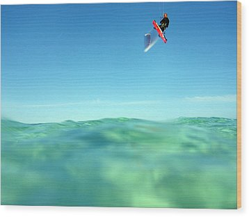Kitesurfing Wood Print by Stelios Kleanthous