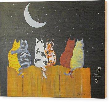 Kitty Friends Wood Print