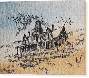 Knippenberg Mansion Glendale Ghost Town Montana Wood Print by Kevin Heaney
