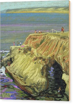 La Jolla Swimmers  Wood Print by Donald Maier