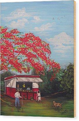 La Tiendita Wood Print by Gloria E Barreto-Rodriguez