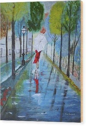 Lady In Red Original Version Wood Print by Dick Bourgault