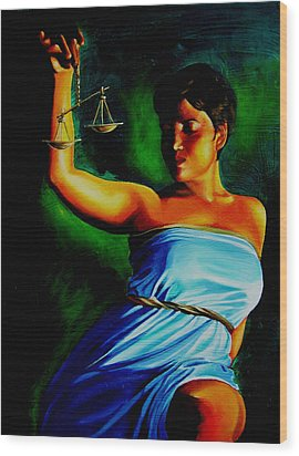 Lady Justice Wood Print by Laura Pierre-Louis