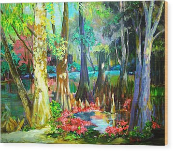 Wood Print featuring the painting Lake Arthur Swamp by AnnE Dentler