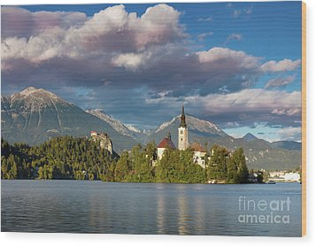 Wood Print featuring the photograph Lake Bled Evening by Brian Jannsen