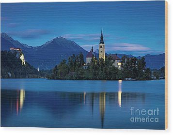 Wood Print featuring the photograph Lake Bled Twilight by Brian Jannsen