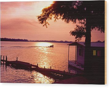 Lake Chicot Sunset Wood Print by John Foote