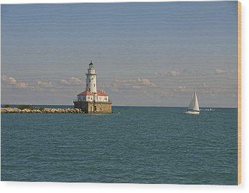 Lake Michigan Lighthouse Wood Print