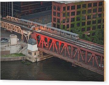 Lake Street Crossing Chicago River Wood Print by Steve Gadomski