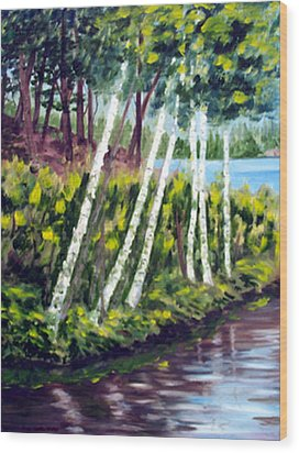 Lakeside Birches Wood Print by Anne Trotter Hodge